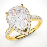14k Yellow Gold Simulated Pear-Shaped Diamond Halo Engagement Ring with Side Stones Promise Bridal Ring