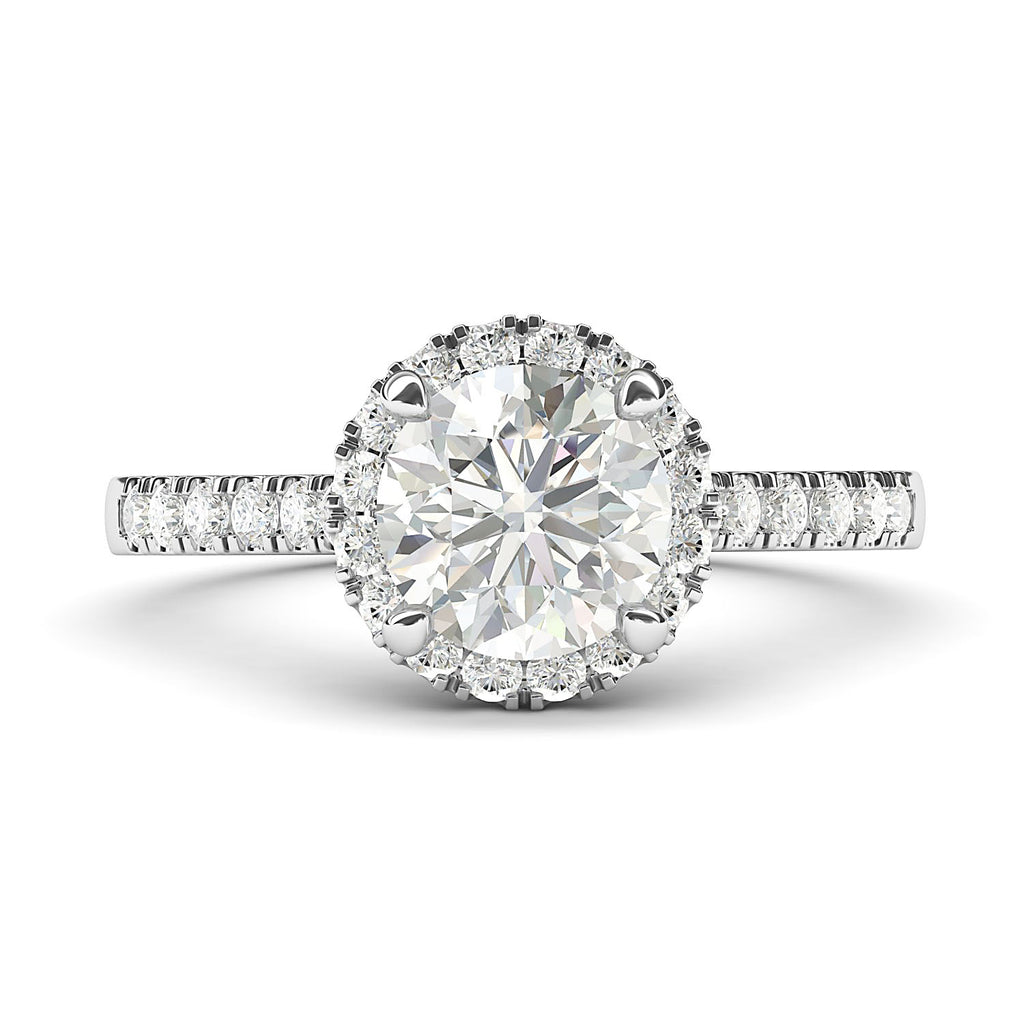 Sterling Silver Classic Simulated Round Brilliant Cut Diamond Halo Engagement Ring with Side Stones