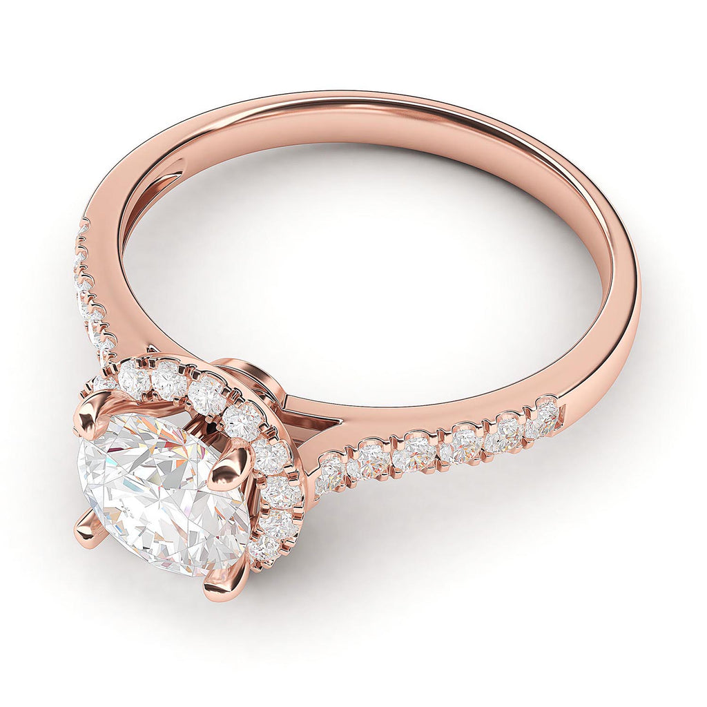 10k Rose Gold Classic Simulated Round Brilliant Cut Diamond Halo Engagement Ring with Side Stones