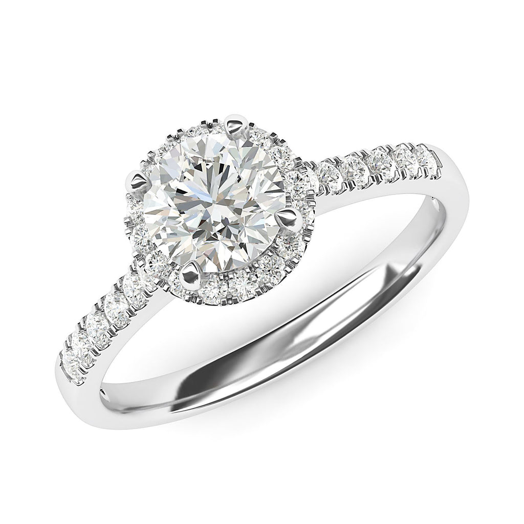 10k White Gold Classic Simulated Round Brilliant Cut Diamond Halo Engagement Ring with Side Stones