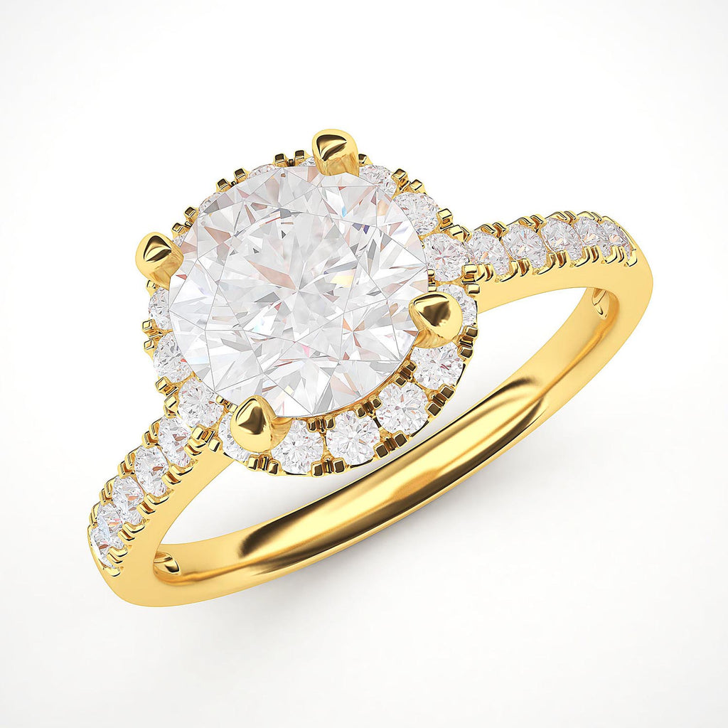 14k Yellow Gold Classic Simulated Round Brilliant Cut Diamond Halo Engagement Ring with Side Stones