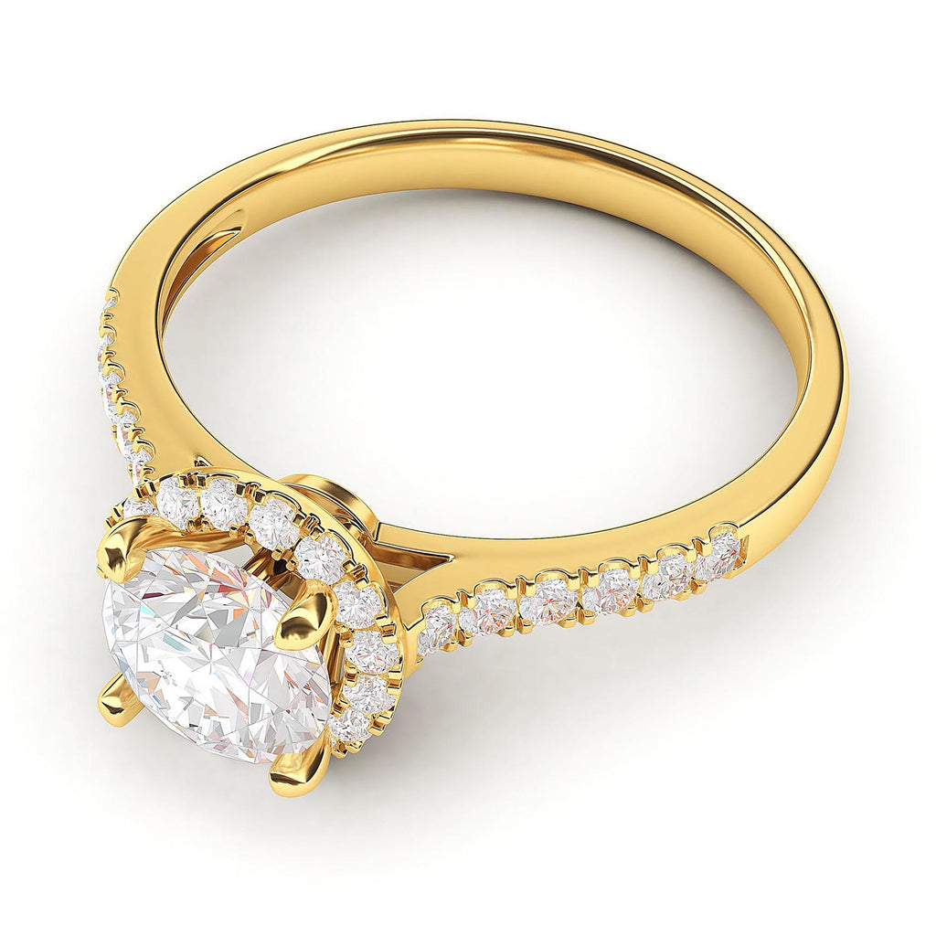 10k Yellow Gold Classic Simulated Round Brilliant Cut Diamond Halo Engagement Ring with Side Stones