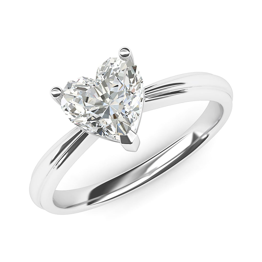 10k White Gold Simulated Heart-shaped Diamond Engagement Ring Raised Shank Promise Bridal Ring