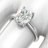 10k White Gold 8x10mm Simulated Oval-Cut Diamond Engagement Ring Domed Band Promise Bridal Ring