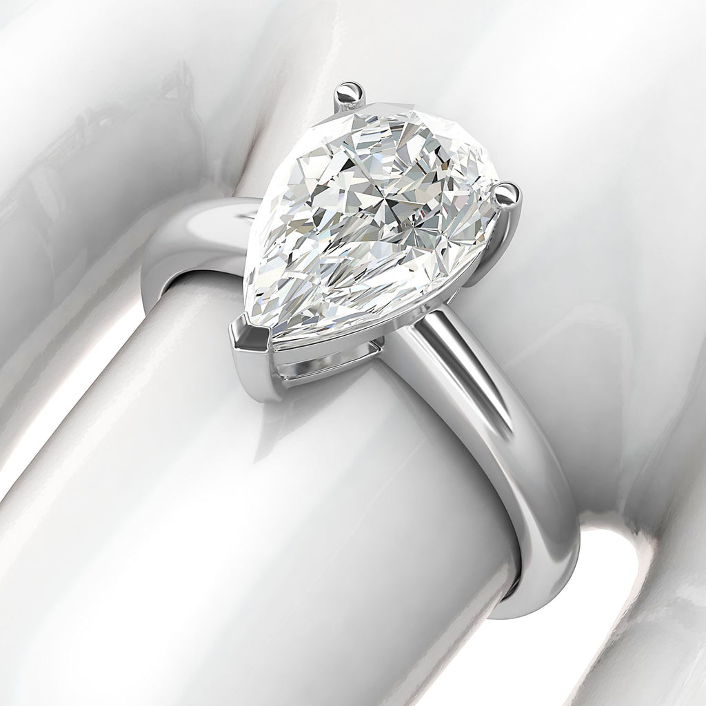 10k White Gold 8x12mm Simulated Pear-shaped Diamond Engagement Ring Domed Band Promise Bridal Ring