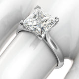 14k White Gold Square 8mm Simulated Princess Cut Diamond Engagement Ring Knife Edge Promise Bridal Ring