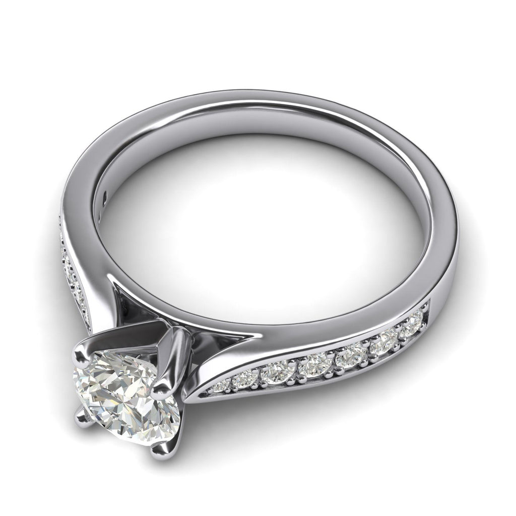 Women's Sterling Silver 1CT Classic 4-Prong Simulated Round Cut Diamond Engagement Ring With Graduated Side Stones