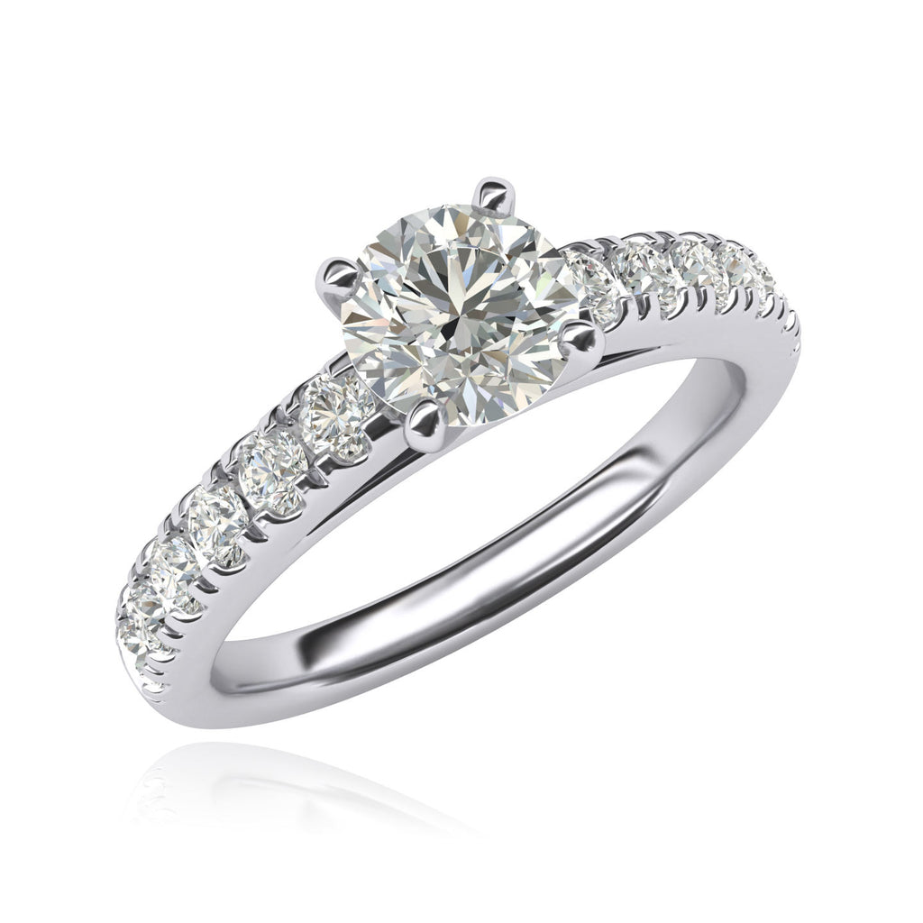 Women's Sterling Silver 1CT Classic 4-Prong Simulated Round Cut Diamond Solitaire Engagement Ring Large Side Stones