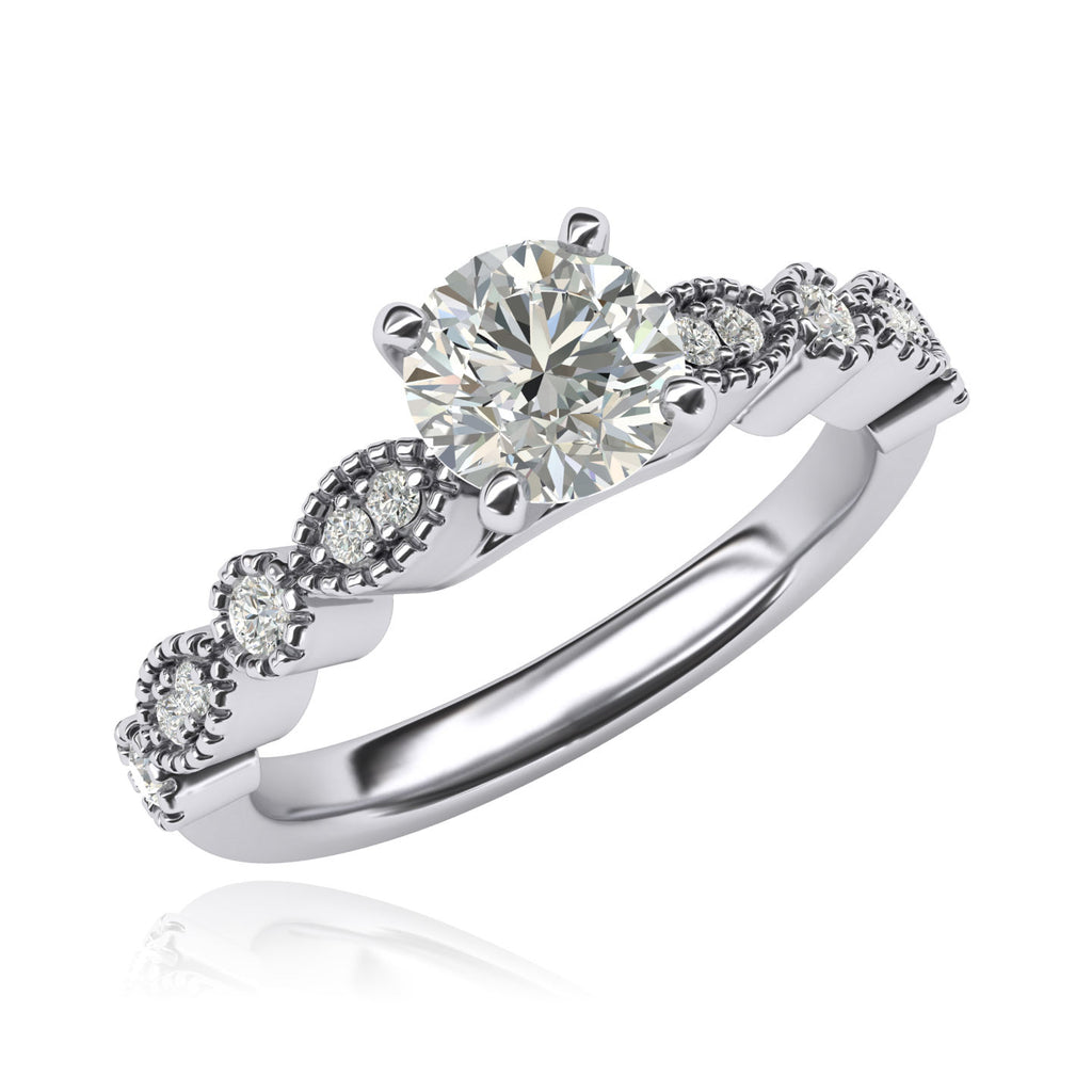 Women's Vintage-inspired Milgrain Marquise and Dot Simulated Diamond Engagement Ring Matching Wedding Ring Set