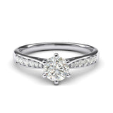 10k white gold 1.0 CT Classic 6-Prong Simulated Diamond Engagement Ring Graduated Side Stones Promise Bridal Ring