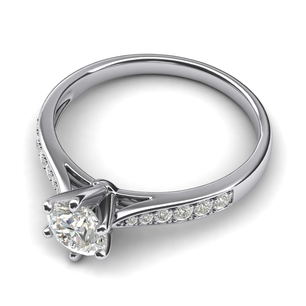 14k white gold 1.0 CT Classic 6-Prong Simulated Diamond Engagement Ring Graduated Side Stones Promise Bridal Ring