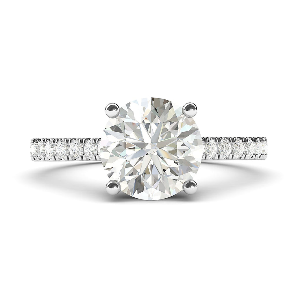 Sterling Silver 2CT Classic 4-Prong Simulated Diamond Engagement Ring with Side Stones Promise Bridal Ring