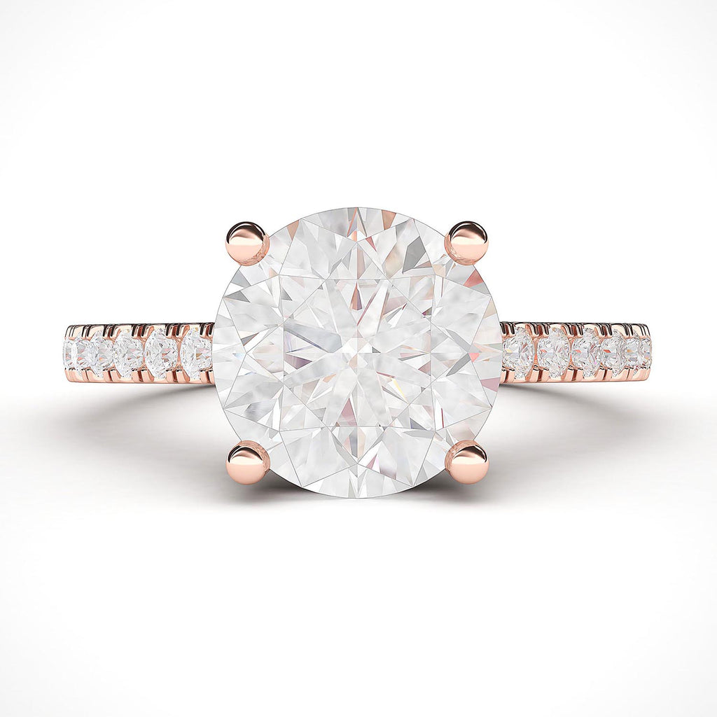 14k Rose Gold 2CT Classic 4-Prong Simulated Diamond Engagement Ring with Side Stones Promise Bridal Ring