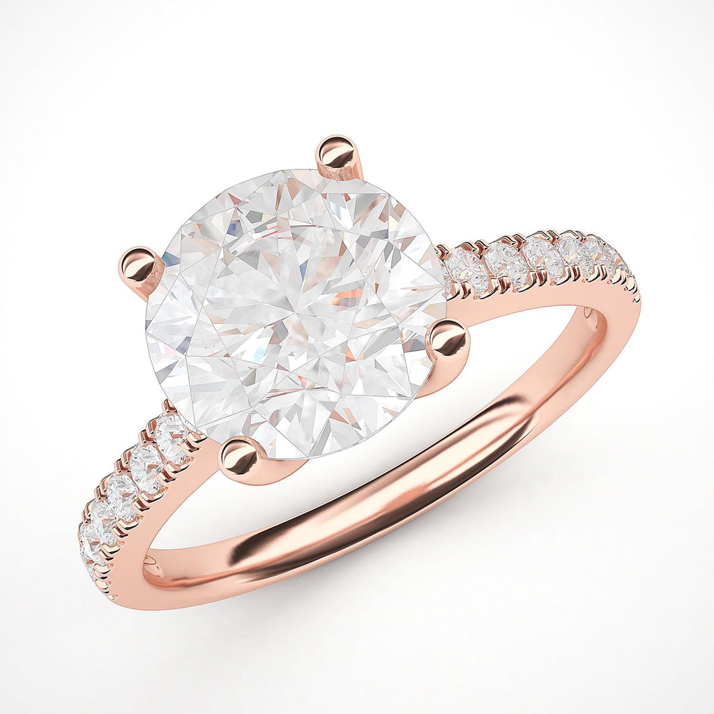 10k Rose Gold 2CT Classic 4-Prong Simulated Diamond Engagement Ring with Side Stones Promise Bridal Ring