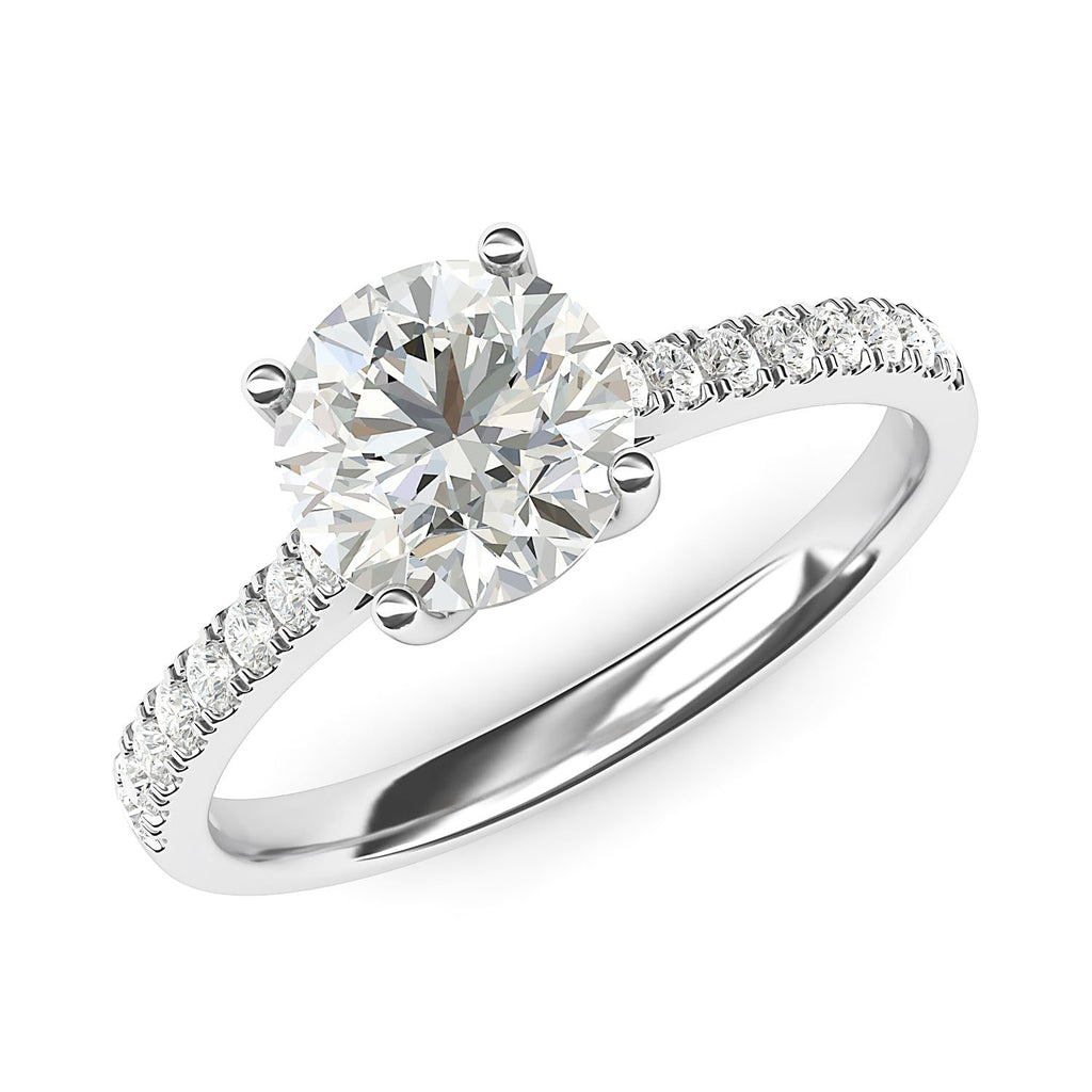 10k White Gold 2CT Classic 4-Prong Simulated Diamond Engagement Ring with Side Stones Promise Bridal Ring