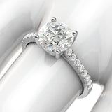 14k White Gold 2CT Classic 4-Prong Simulated Diamond Engagement Ring with Side Stones Promise Bridal Ring