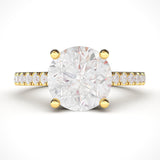 10k Yellow Gold 2CT Classic 4-Prong Simulated Diamond Engagement Ring with Side Stones Promise Bridal Ring