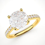 14k Yellow Gold 2CT Classic 4-Prong Simulated Diamond Engagement Ring with Side Stones Promise Bridal Ring