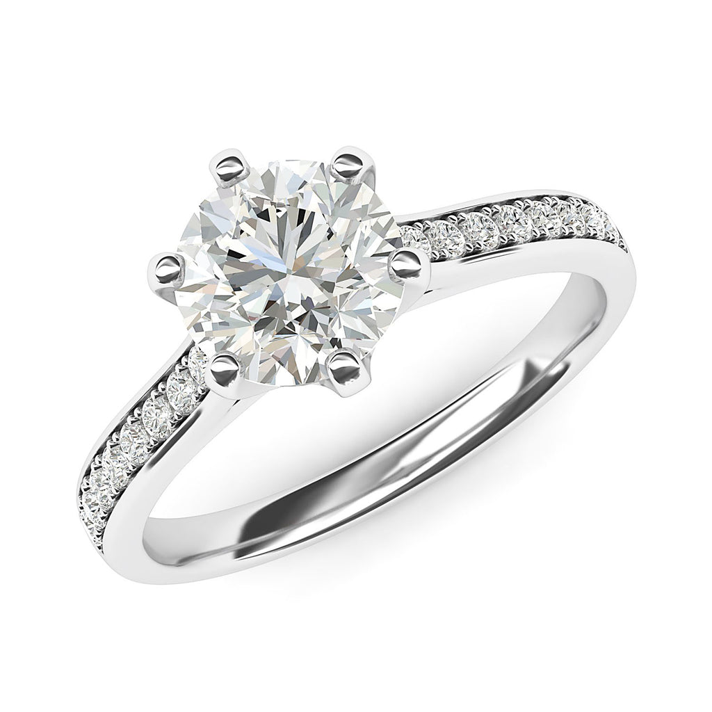 Sterling Silver 2 Carats Classic 6-Prong Simulated Diamond Engagement Ring with Side Stones Promise Bridal Ring