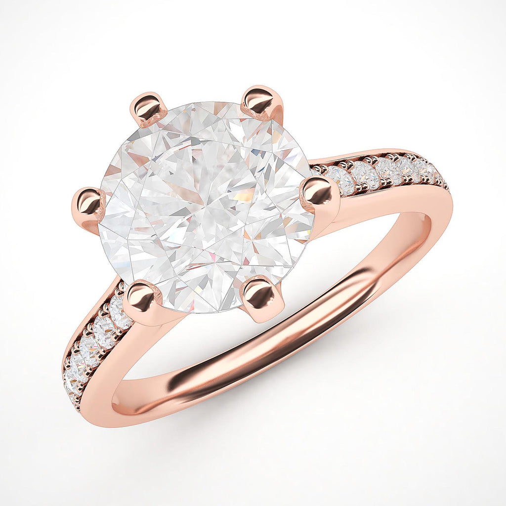 14k Rose Gold 2 Carats Classic 6-Prong Simulated Diamond Engagement Ring with Side Stones Promise Bridal Ring