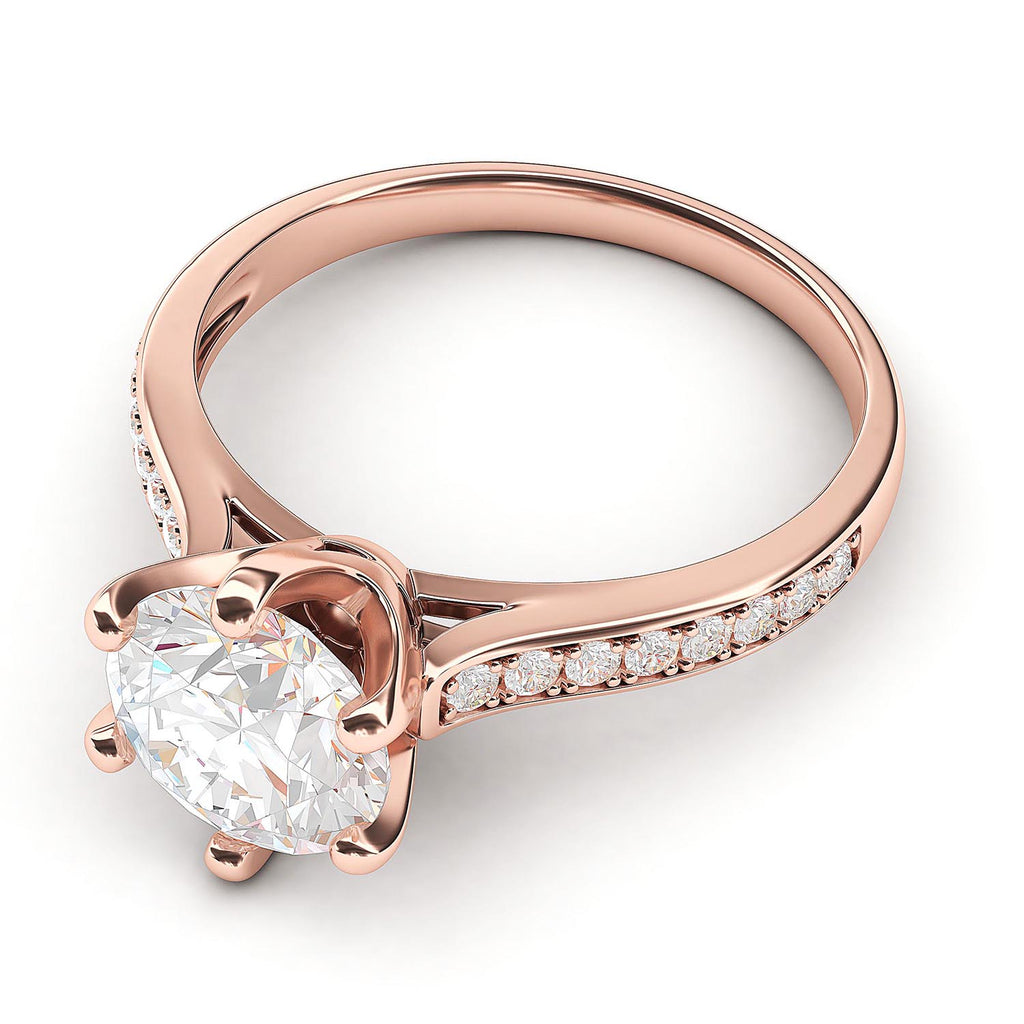 10k Rose Gold 2 Carats Classic 6-Prong Simulated Diamond Engagement Ring with Side Stones Promise Bridal Ring