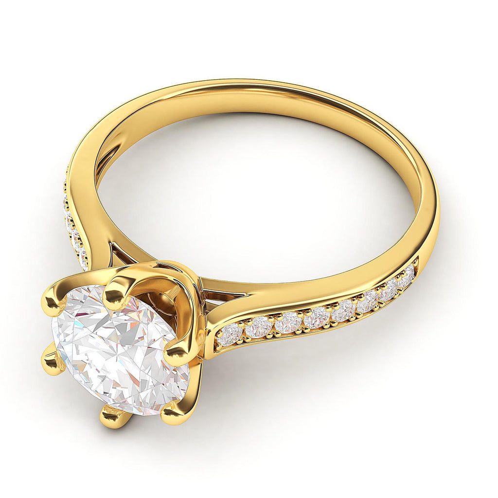 10k Yellow Gold 2 Carats Classic 6-Prong Simulated Diamond Engagement Ring with Side Stones Promise Bridal Ring