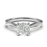 Sterling Silver 4-Prong Petite Twisted Vine Simulated 1.0 CT Diamond Engagement Ring Promise Bridal Ring