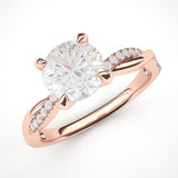 14k Rose Gold 4-Prong Petite Twisted Vine Simulated 1.0 CT Diamond Engagement Ring Promise Bridal Ring