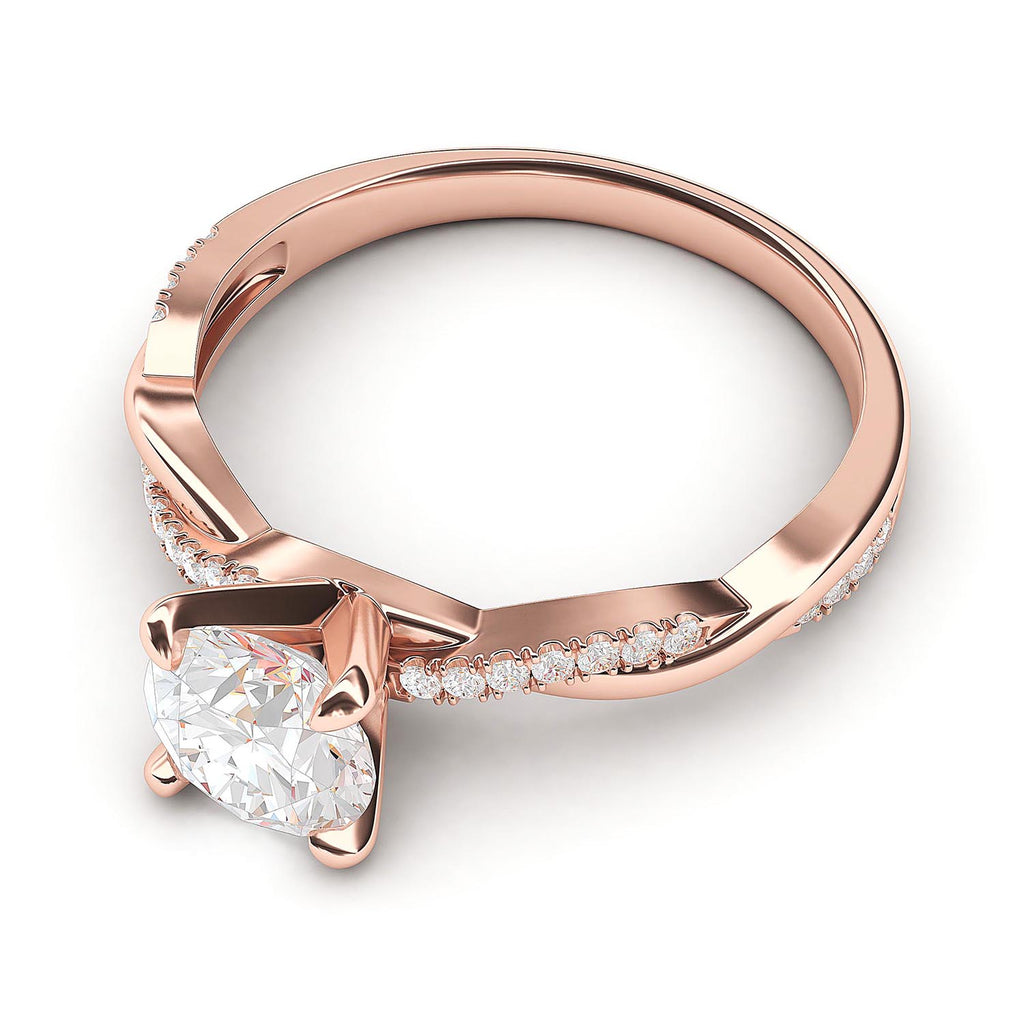 10k Rose Gold 4-Prong Petite Twisted Vine Simulated 1.0 CT Diamond Engagement Ring Promise Bridal Ring