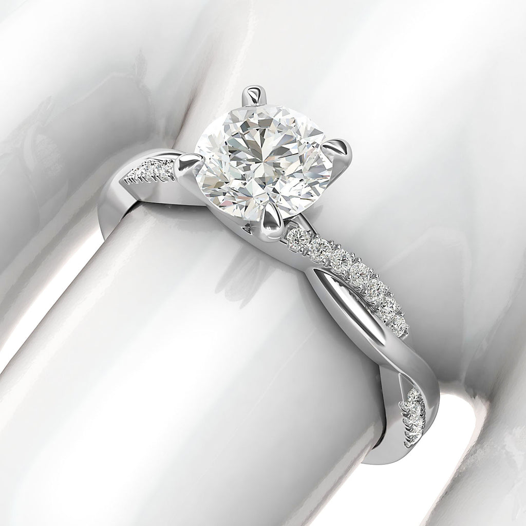 14k White Gold 4-Prong Petite Twisted Vine Simulated 1.0 CT Diamond Engagement Ring Promise Bridal Ring