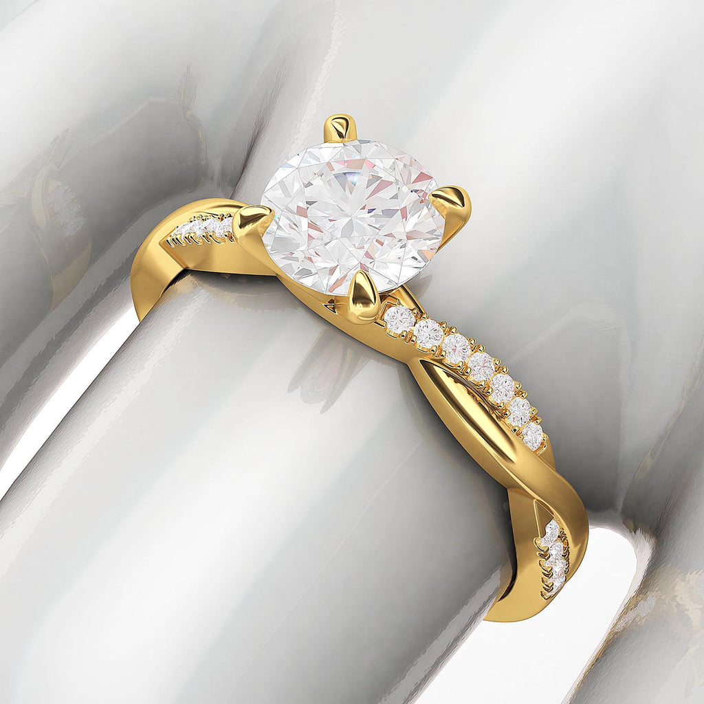10k Yellow Gold 4-Prong Petite Twisted Vine Simulated 1.0 CT Diamond Engagement Ring Promise Bridal Ring