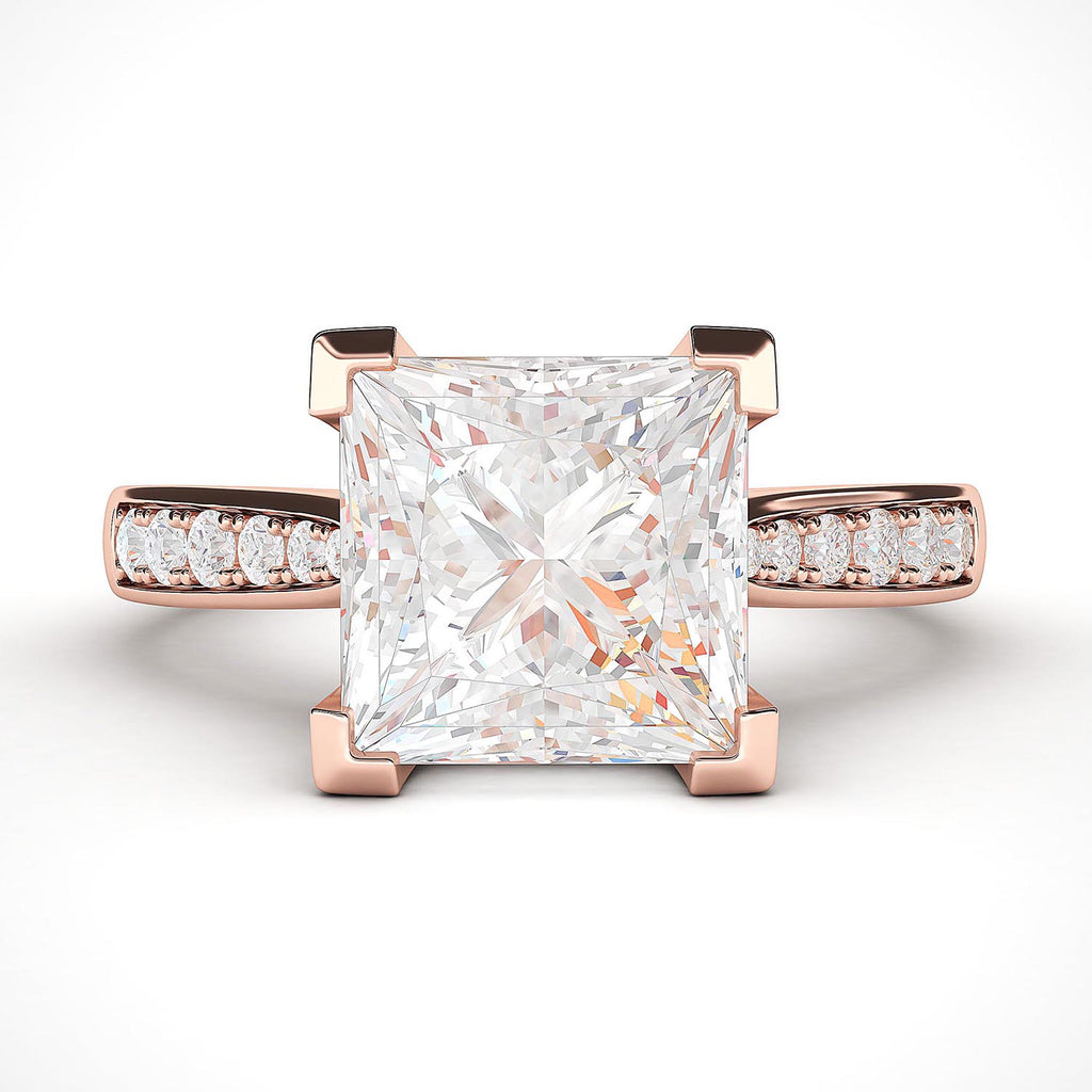 14k Rose Gold Solitaire 1.5ct Simulated Princess Cut Diamond Engagement Ring with Side Stones Promise Bridal Ring