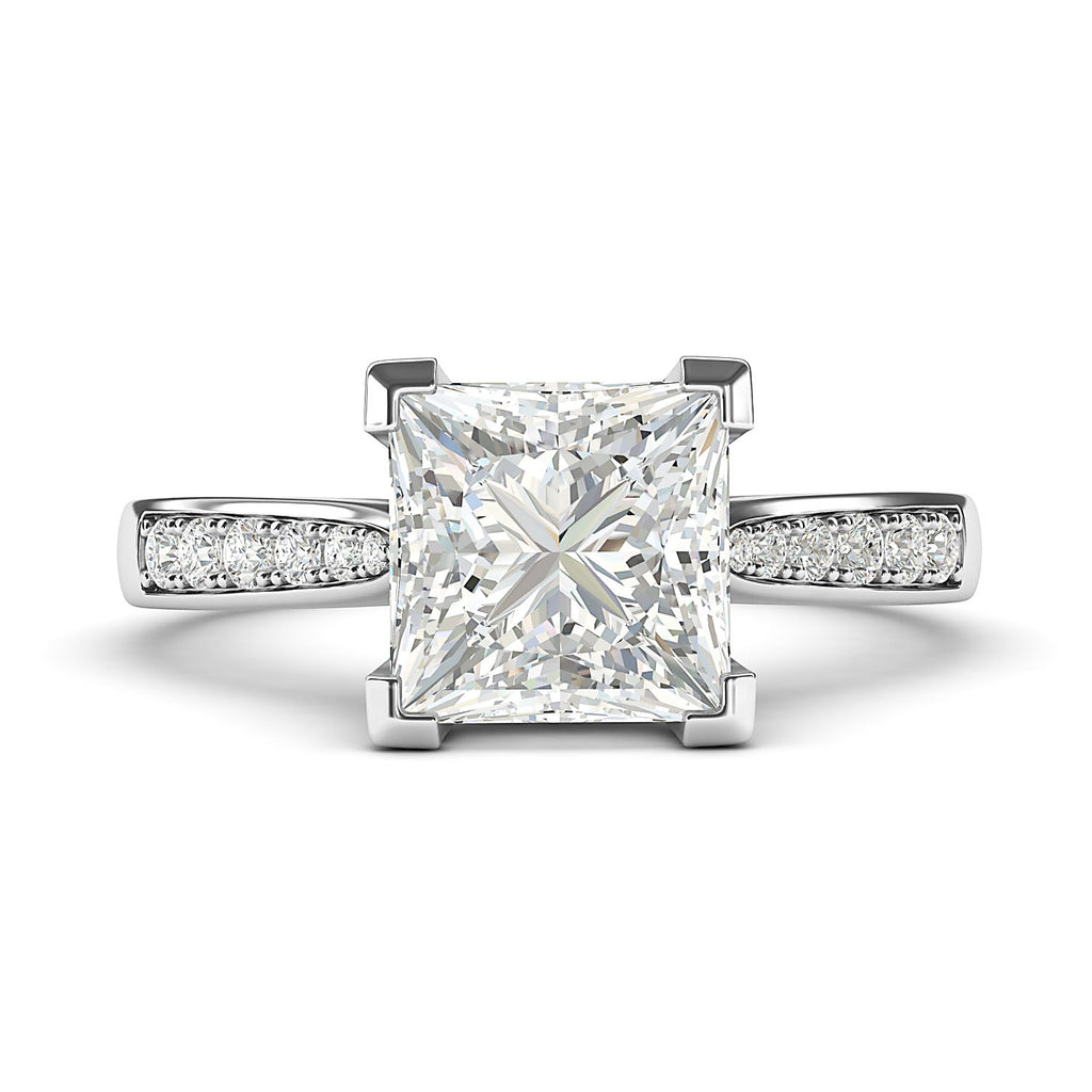 14k White Gold Solitaire 1.5ct Simulated Princess Cut Diamond Engagement Ring with Side Stones Promise Bridal Ring