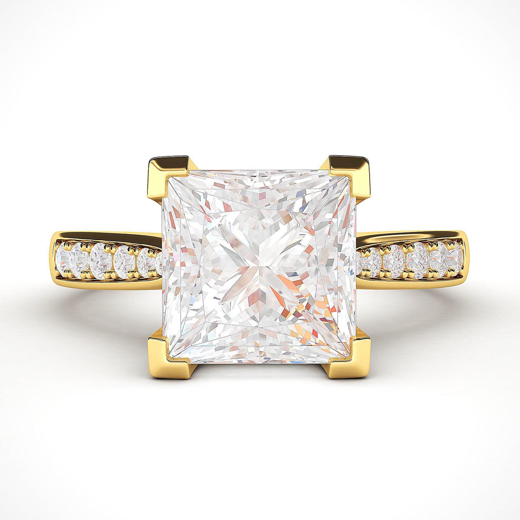 14k Yellow Gold Solitaire 1.5ct Simulated Princess Cut Diamond Engagement Ring with Side Stones Promise Bridal Ring
