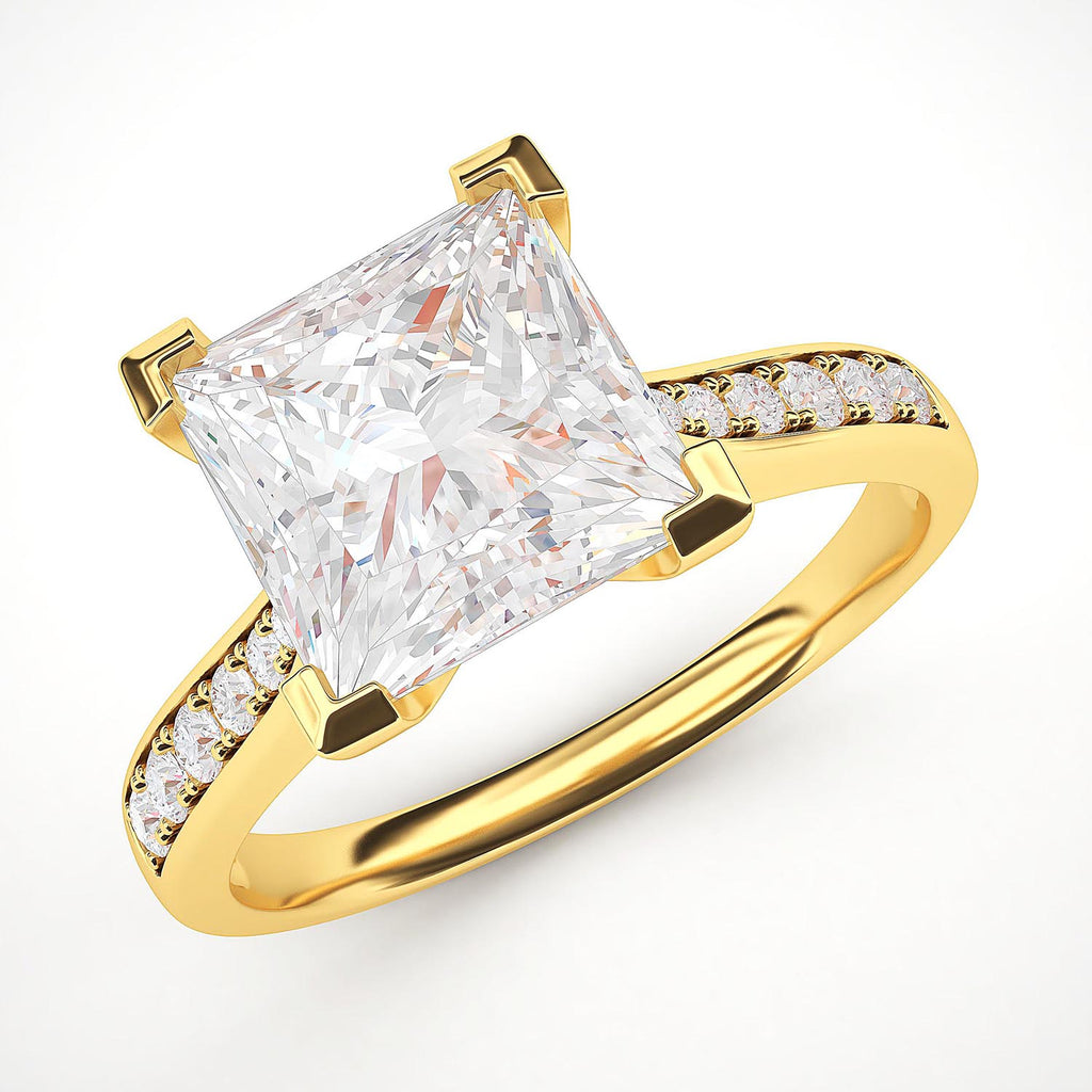 10k Yellow Gold Solitaire 1.5ct Simulated Princess Cut Diamond Engagement Ring with Side Stones Promise Bridal Ring