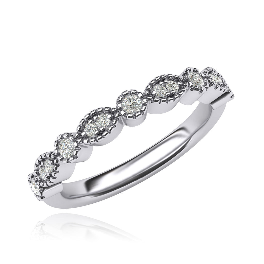 Vintage-inspired Milgrain Marquise and Dot Simulated Diamond 3mm Wide Matching Wedding Ring Eternity Ring (4)