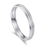 Unisex Comfort Fit Sterling Silver 3mm Sandblasted Finish Ring Grooved Wedding Band