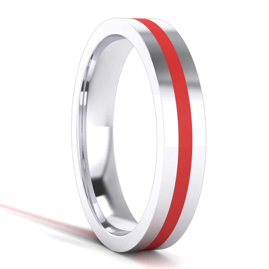 4mm Unisex Comfort Fit Sterling Silver Plain Flat Wedding Band Red Silicone Inlay Ring