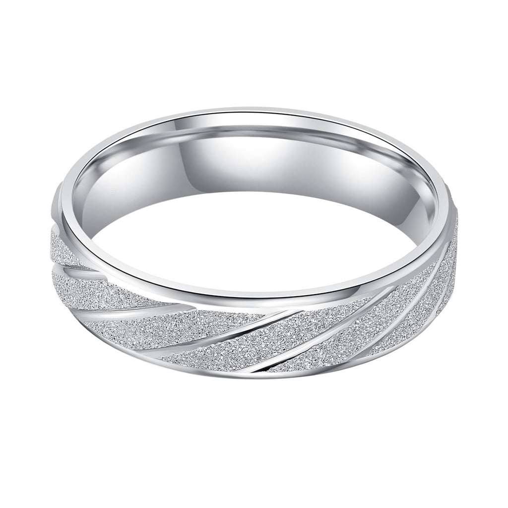 Unisex Comfort Fit Sterling Silver 5mm Sandblasted Finish Ring Patterned Wedding Band