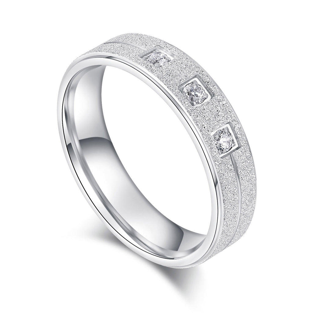 Solid Unisex Comfort Fit Sterling Silver 5mm Sandblasted Finish Ring Simulated Diamond Wedding Band