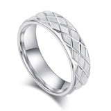6mm Unisex Comfort Fit Sterling Silver Lines and Grids Engraved Ring Patterned Wedding Band