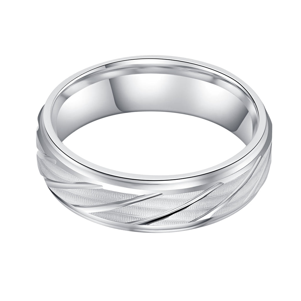 6mm Unisex Comfort Fit Sterling Silver Matte Finish Waves and Lines Patterned Ring Wedding Band