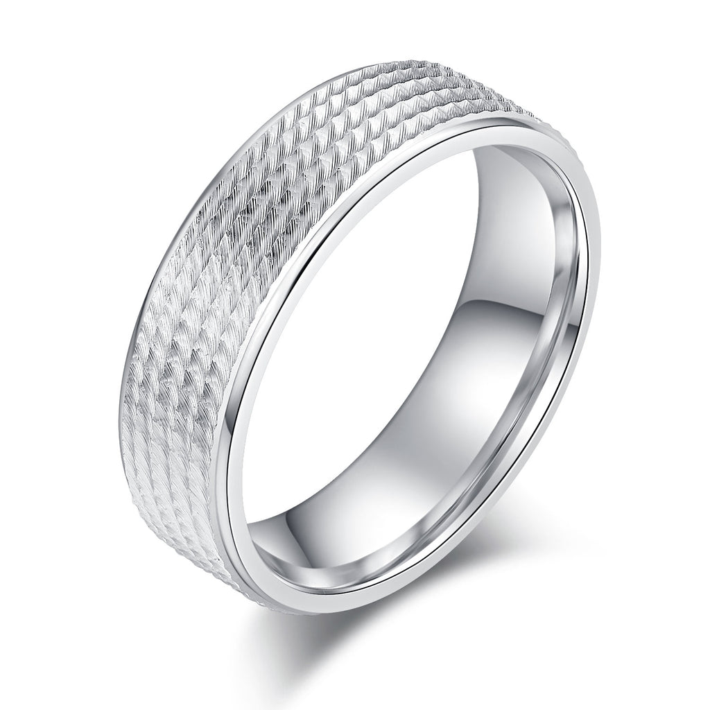 6mm Unisex Comfort Fit Sterling Silver Diamond Cut Thread Patterned Ring Wedding Band