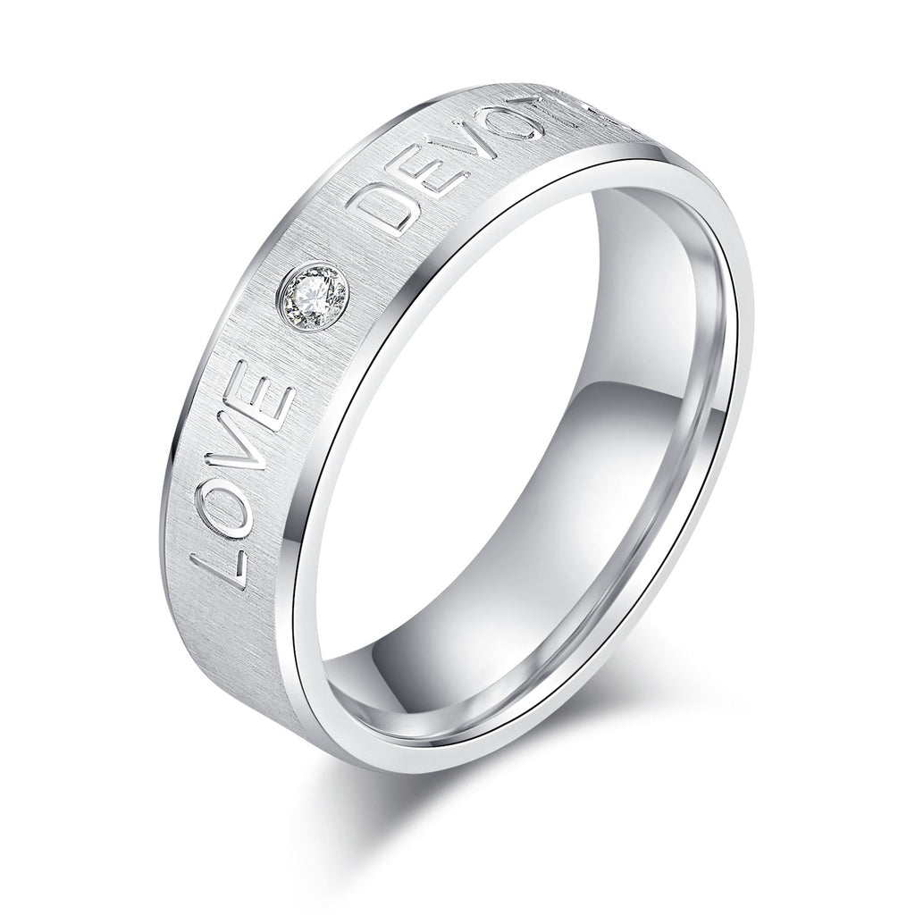 Unisex 6mm Comfort Fit Sterling Silver Simulated Diamond Wedding Ring LOVE DEVOTION Engraving