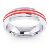 6mm Unisex Comfort Fit Sterling Silver Domed Wedding Band Red Silicone Inlay Ring
