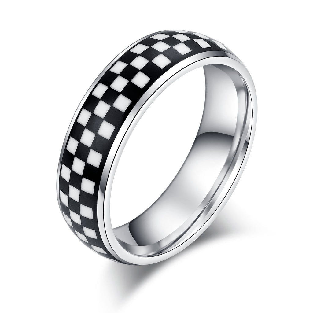 6mm Unisex Comfort Fit Sterling Silver Domed Wedding Band Black White Blocks Pattern Ring