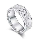 Mens 8mm Heavy Sterling Silver Lines and Grids Engraved Ring Patterned Wedding Band