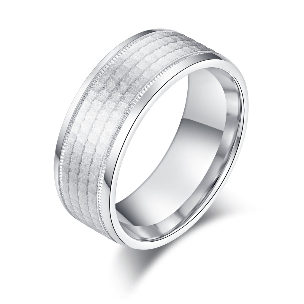8mm Mens Comfort Fit Sterling Silver Matte Finish Honeycomb Patterned Ring Wedding Band