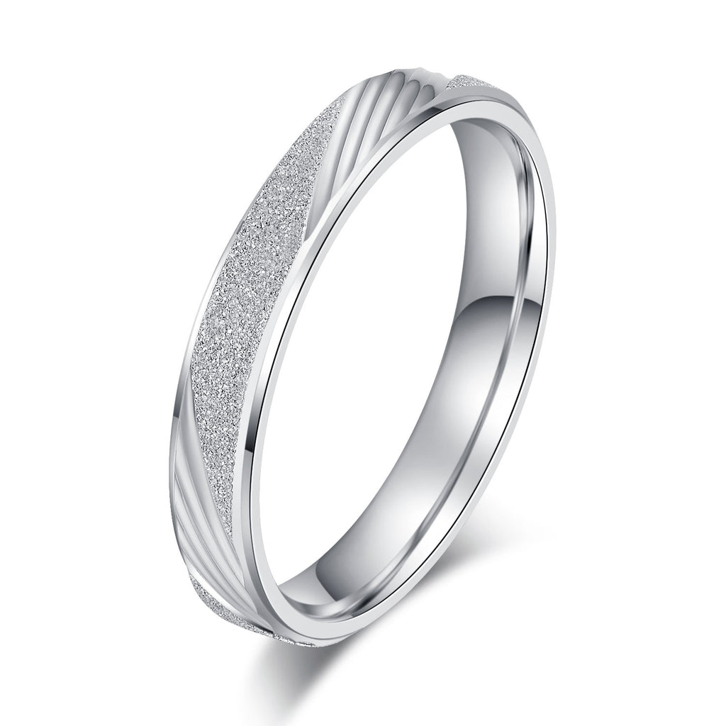 Unisex Comfort Fit Sterling Silver 3.5mm Sandblasted Finish Ring Patterned Wedding Band