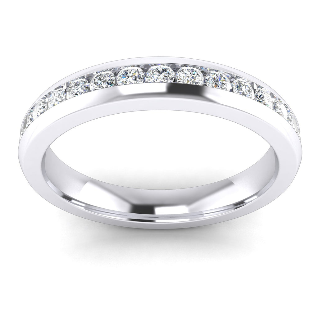 Unisex Comfort Fit Sterling Silver 3.5mm Domed Simulated Diamond Full Eternity Ring Classic Wedding Band